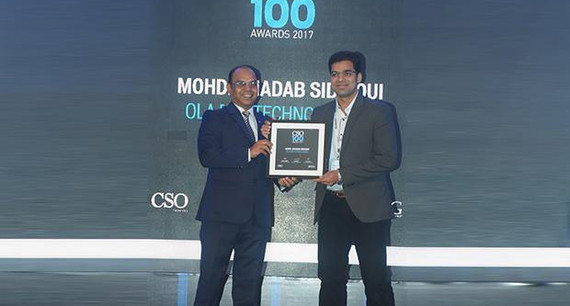 Mohd Shadab Siddiqui, Head of Security, OLA [ANI Technologies] receives the CSO100 Award for 2017
