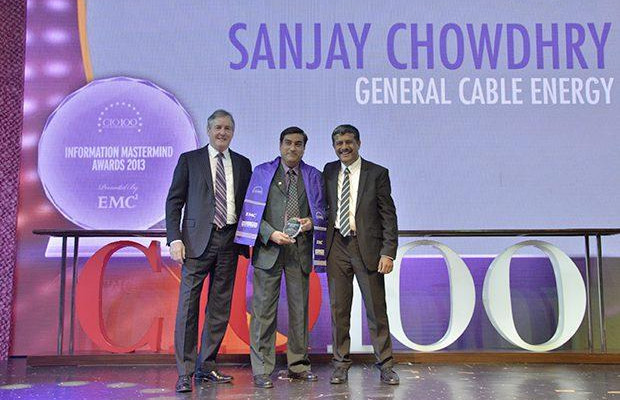 Information Mastermind: Sanjay Chowdry, Head-IT at General Cable Energy receives the CIO100 Special Award for 2013 from David Webster, President-APJ, EMC India and Rajesh Janey, President-India and SAARC, EMC