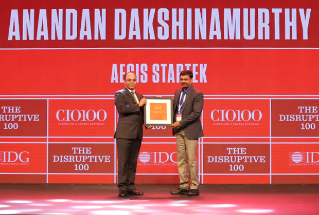 The Disruptive 100: Anandan Dakshinamurthy, Global VP- IT Applications & Development, Aegis Startek receives the CIO100 Award for 2019