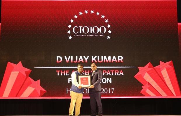 The Digital Innovators: D Vijay Kumar, Director - IT at Akshaya Patra Foundation receives the CIO100 Award for 2017