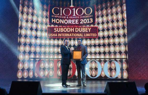 The Astute 100: Subodh Dubey, Group CIO & Sr. VP- IT of Usha International receives the CIO100 Award for 2013