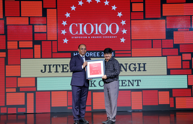 The Digital Architect: Praveen Mehra, on behalf of Jitendra Singh, CIO of JK Cement receives the CIO100 Award for 2018