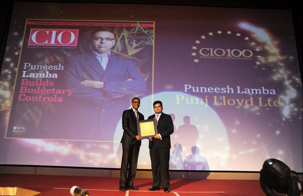 The Creative 100: Puneesh Lamba, General Manager-IT of Punj Lloyd receives the CIO100 Award for 2011