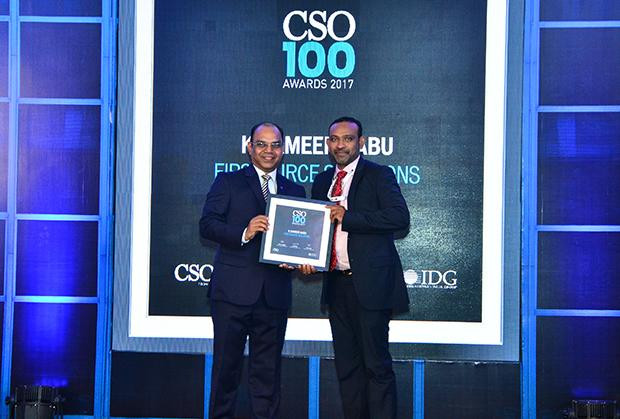 Sameer Babu, General Manager - Information Security & Business Continuity, Firstsource Solutions receives the CSO100 Award for 2017.