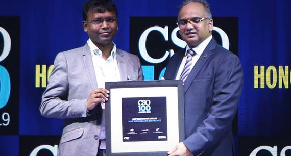 Satyanandan Atyam, Chief Risk Officer at Max Bupa Health Insurance receives the CSO100 Award for 2019