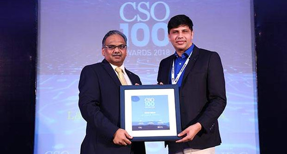 Mohd Imran, Group Head – Information Security for L&T Financial Services receives the CSO100 Award for 2018