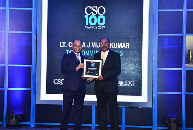 Col. A J Vijaykumar, Chief Information Security Officer of Tata Communications receives the CSO100 Award for 2017.