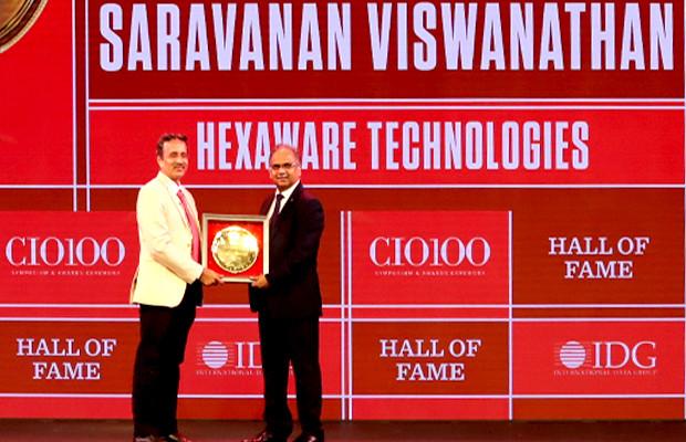 Hall of Fame: Saravanan Viswanathan, Head – Internal Systems & Technology, Hexaware Technologies receives the CIO100 Special Award for 2019