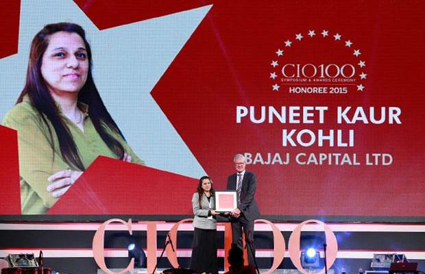 The Versatile 100: Puneet Kaur Kohli, Group Executive VP-IT Operations and Technologies of Bajaj Capital receives the CIO100 Award for 2015