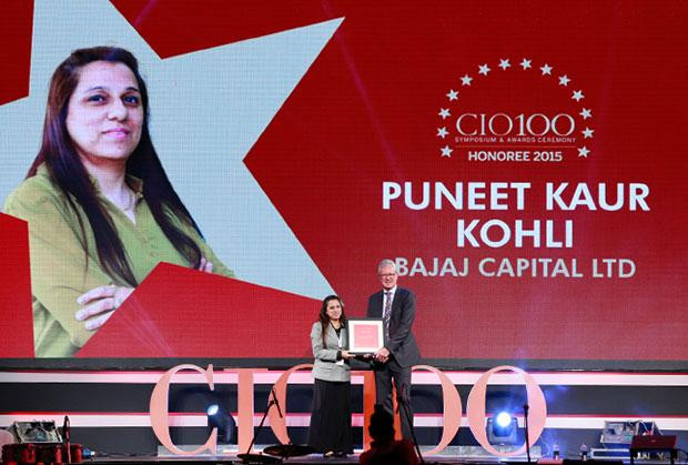 The Versatile 100: Puneet Kaur Kohli, Group Executive VP-IT Operations and Technologies of Bajaj Capital receives the CIO100 Award for 2015