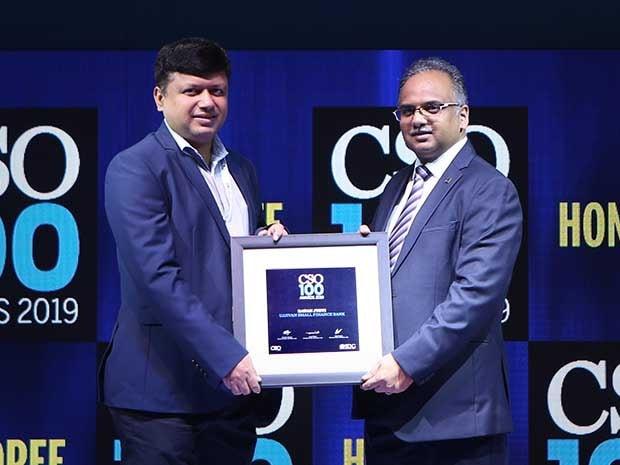 Ratan Jyoti, CISO of Ujjivan Small Finance Bank, receives the CSO100 Award for 2019