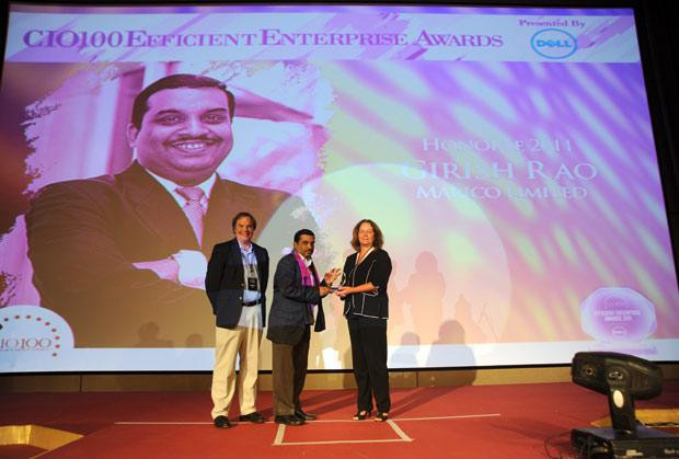 Efficient Enterprise: Girish Rao, Head IT of Marico receives the CIO100 Special Award for 2011 from Sally Stevens, VP, PG Platform Marketing, Dell and Kevin Noreen, Marketing Director, System Management, Dell