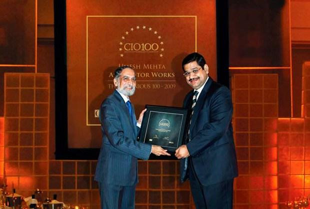 The Ingenious 100: Umesh Mehta, VP-IT of AMW Motors receives the CIO100 Award for 2009