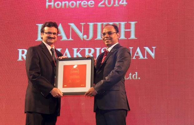 The Dynamic 100: Ranjith Radhakrishnan, GM - IT of TVS Motors receives the CIO100 Award for 2014