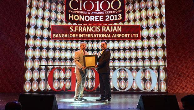 The Astute 100: S Francis Rajan, VP - ICT of Bangalore International Airport (BIAL) receives the CIO100 Award for 2013.