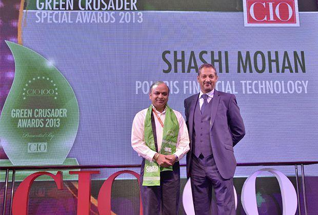 Green Crusader: Shashi Mohan, Executive VP, CIO and CTO of Polaris Financial Technology receives the CIO100 Special Award for 2013 from Kumaran Ramanathan, MD, IDG Global Services