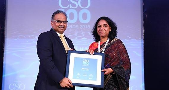 Maya R Nair, Head-IS at Idea Cellular receives the CSO100 Award for 2018