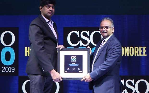 Vijay Radhakrishnan, CISO at Mahindra Financial Service Sector receives the CSO100 Award for 2019