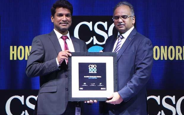 Rajeev Prakash Verma, Deputy General Manager – Information Security at SRF, receives the CSO100 Award for 2019
