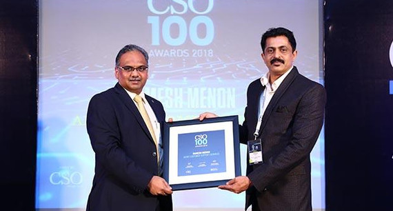 Ramesh Menon, Head Infosec, Aegis Customer Support Services receives the CSO100 Award for 2018