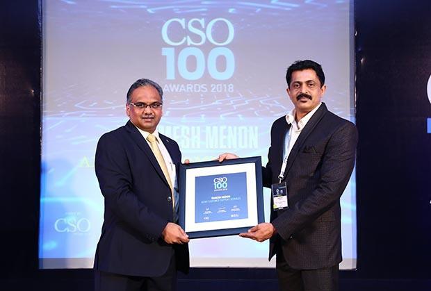 Ramesh Menon, Head Infosec, Aegis Customer Support Services receives the CSO100 Award for 2018