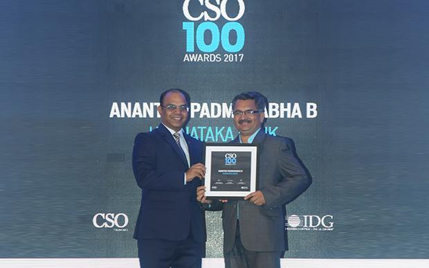Ananth Padmanabha, DGM IT & CISO, Karnataka Bank receives the CSO100 Award for 2017.