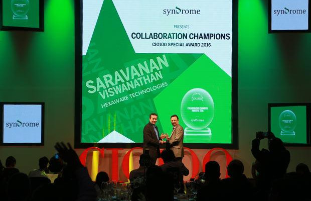 Collaboration Champion: Saravanan Viswanathan, Head-Internal Systems and Technology of Hexaware Technologies receives the CIO100 Special Award for 2016 from Yogesh Purohit, Director-Sales, Syndrome