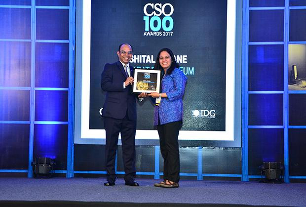 Shital Jiwane, Deputy Manager, Information Systems, Bharat Petroleum receives the CSO100 Award for 2017.
