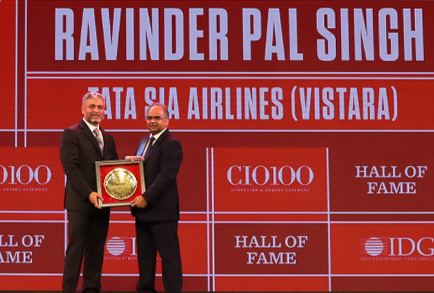 Hall of Fame: Ravinder Pal Singh, Chief Information and Innovation Officer, Tata Singapore Airlines receives the CIO100 Special Award for 2019
