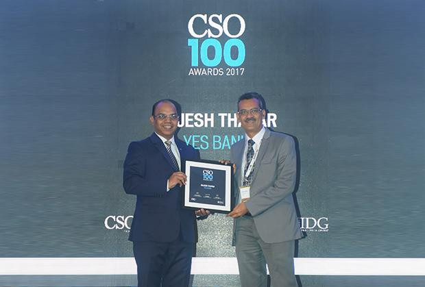 Rajesh Thapar, Chief Information Security Officer at YES Bank receives the CSO100 Award for 2017.