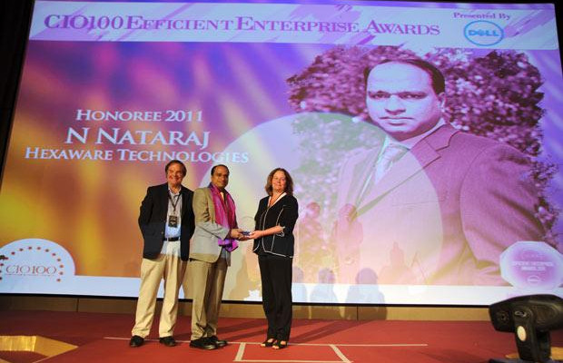Efficient Enterprise: Nataraj N, Global CIO of Hexaware Technologies receives the CIO100 Special Award for 2011 from Sally Stevens, VP, PG Platform Marketing, Dell and Kevin Noreen, Marketing Director, System Management, Dell
