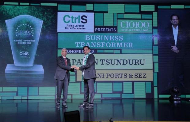 Business Transformer: Pavan Tsunduru, CIO of Adani Ports and SEZ, receives the CIO100 special award for 2018 from R S Prasad Rao, Director- CtrlS