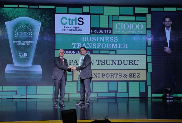 Business Transformer: Pavan Tsunduru, CIO of Adani Ports and SEZ, receives the CIO100 special award for 2018 from R S Prasad Rao, Director- CtrlS