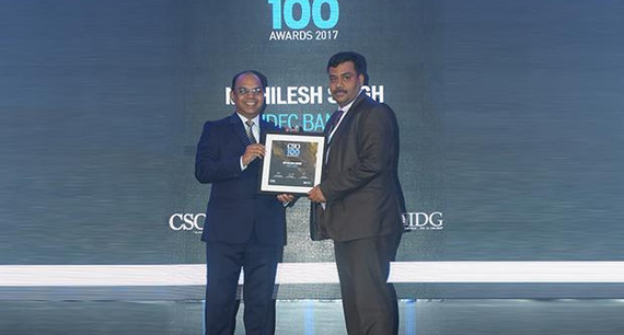 Mithilesh Singh, Head-Technology, IDFC Bank receives the CSO100 Award for 2017.