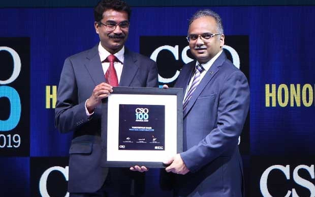 Vasudevan Nair, Head IT and CISO of Writer Corporation, receives the CSO100 Award for 2019