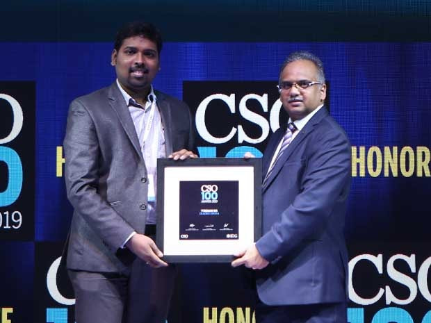 Vikram GR, CISO at Diageo India, receives the CSO100 Award for 2019