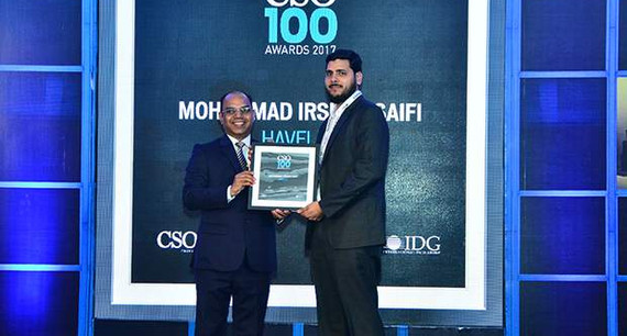 Irshad Safi, AVP IT & Information Security, Havells India receives CSO100 Award for 2017
