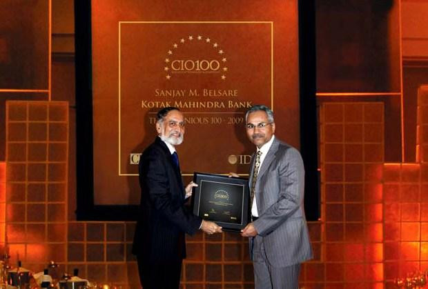 The Ingenious 100: Sanjay M Belsare, EVP-IT, Kotak Mahindra Bank recieves CIO100 Award for 2009