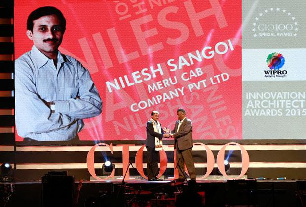Innovation Architect: Nilesh Sangoi, Meru Cab Company receives the CIO100 Special Award for 2015 from Achuthan Nair, Senior VP and COO, Wipro Infotech
