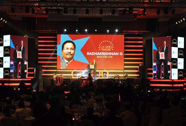Networking Pioneer: Radha Krishnan Menon, IT Head of Biocon receives the CIO100 Special Award for 2015 from Sajan Paul, CTO, Juniper Networks-India and SAARC