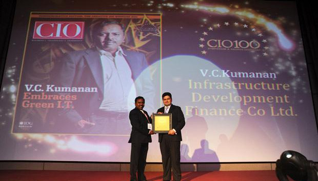 The Creative 100: VC Kumanan, Sr. Director-IT, Infrastructure Development Finance Corporation (IDFC) receives the CIO100 Award for 2011