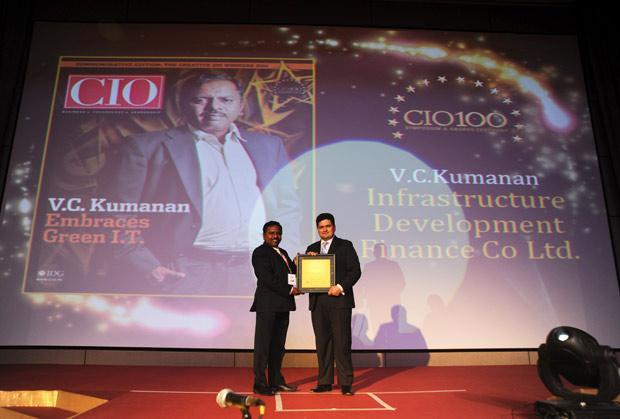 The Creative 100: VC Kumanan, Sr. Director-IT, Infrastructure Development Finance Corporation (IDFC) receives the CIO100 Award for 2011