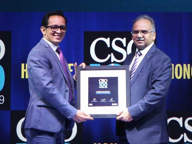Subhakar Rudra, Head–Group SAP, IT Infra & Information Security Management at CK Birla Hospitals, receives the CSO100 Award for 2019