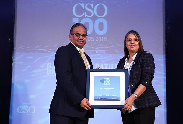 Capt Kannu Pathania, Head Information Protection at Wipro receives the CSO100 Award for 2018
