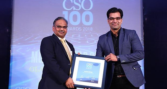 Mohd Shadab Siddiqui, Head of Security, OLA [ANI Technologies] receives the CSO100 Award for 2018