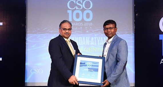 Satyanandan Atyam, CISO, Bharti Axa General Insurance receives the CSO100 Award for 2018
