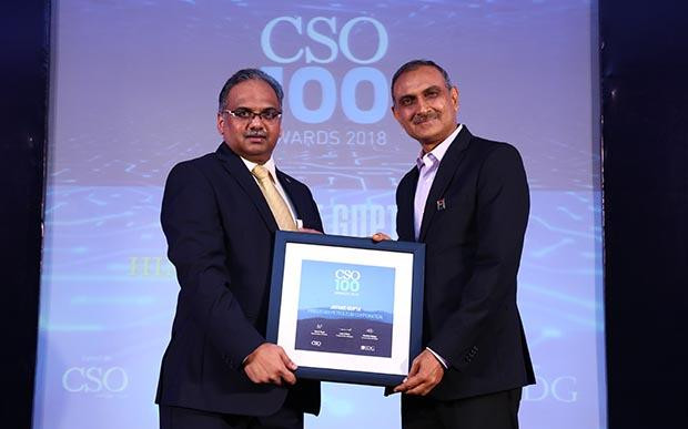 Jayant Gupta, Chief General Manager-Infrastructure and Security of Hindustan Petroleum receives the CS0100 Award for 2018