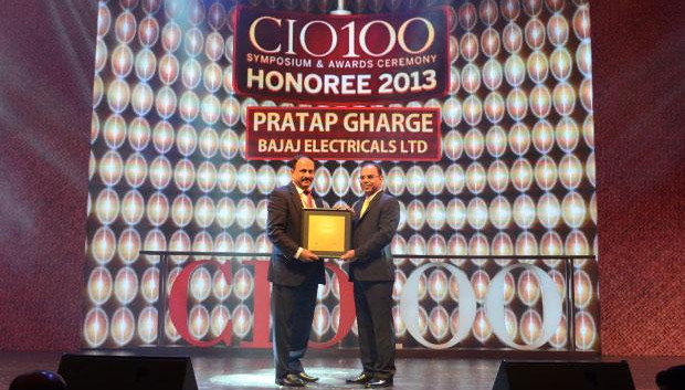 The Astute 100: Pratap S Gharge, President and CIO of Bajaj Electricals receives the CIO100 Award for 2013.