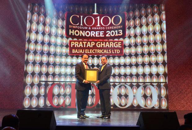 The Astute 100: Pratap S Gharge, President and CIO of Bajaj Electricals receives the CIO100 Award for 2013.