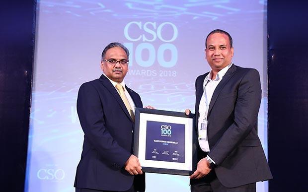 Ravi Kumar Vaddeboina, DGM-IT at Cyient receives the CSO100 Award for 2018.